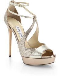 Jimmy Choo Valdia Glitter & Metallic Leather Strappy Sandals - Lyst