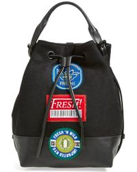 Opening Ceremony 'Izzy - Fruit Sticker' Wool & Leather Backpack black - Lyst