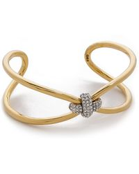 Giles & Brother - Skinny X Knot Pave Cuff Bracelet - Gold - Lyst