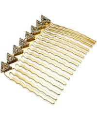 House of Harlow 1960 Gold-Tone Pavé Triangle Hair Comb - Metallic