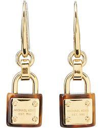 Michael Kors Collection Padlock Logo Drop Earring - Lyst
