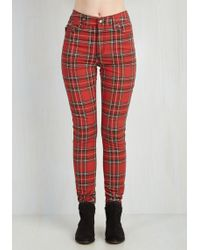 Tripp Nyc - Never Plaid It So Good Trousers In Red - High-rise - Lyst