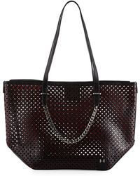 Halston - Perforated Leather Tote Bag - Lyst