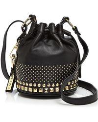 Via Spiga Eve Small Studded Drawstring Bucket Bag - Black