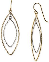 Argento Vivo Two Tone Double Drop Earrings gold - Lyst