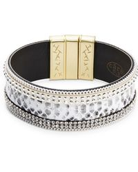 Cara - Embossed Faux Leather Bangle Bracelet - Lyst