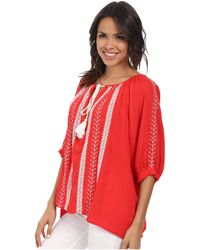 Karen Kane Embroidered Tassel Tie Top - Lyst