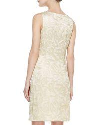 Sue Wong Sleeveless Metallic Jacquard Sheath Dress - Lyst
