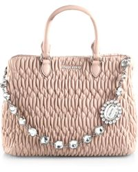 Miu Miu Swarovski-Crystal Quilted Leather Tote pink - Lyst