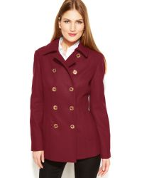 Michael Kors Michael Double-breasted Wool-blend Peacoat - Lyst