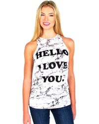 Zoe Karssen | 'hello I Love You' Loose Fit Classic Tank In Marble White | Lyst