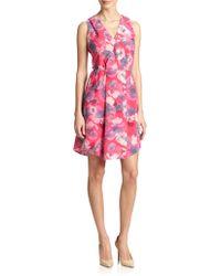 Rebecca Taylor Floral Print Cutout Dress - Lyst