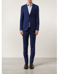 Sand Checked Two Piece Suit - Blue