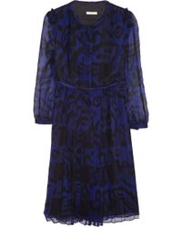 Burberry Brit Printed Silk-chiffon Dress - Lyst