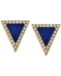 Michael Kors Gold-Tone Lapis Triangle Stud Earrings gold - Lyst
