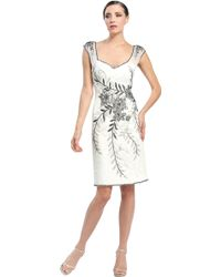 Sue Wong Floral Embellished Pleated Dress - Lyst