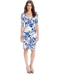 Lauren by Ralph Lauren Floral-Print Ruched Dress - Lyst