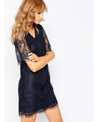 Vila All Over Lace Shift Dress - Blue