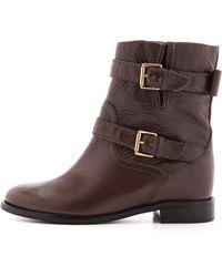 Kate Spade Sabina Flat Moto Boots - Dark Taupe - Brown