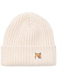 Maison Kitsuné - Fox-Embroidered Ribbed-Knit Beanie - Lyst