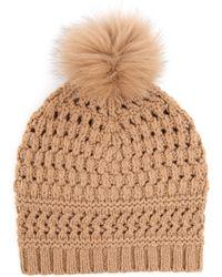 Diane von Furstenberg - Fur-pompom Knit Beanie - Lyst