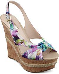 Guess Women'S Delilan Floral Tie Platform Wedge Sandals - Lyst