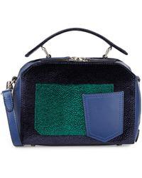 DANNIJO - Ricci Velvet & Leather Colorblock Mini Crossbody Bag - Lyst