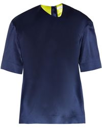 Thomas Tait Box-fit Silk-satin T-shirt - Blue