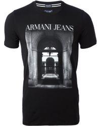 Armani Jeans Digital Print T-Shirt - Lyst