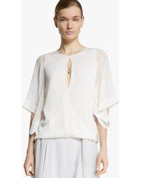 Halston Kimono Sleeve Silk Georgette Top white - Lyst