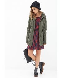Forever 21 Faux Fur Utility Jacket - Green