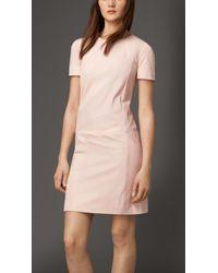 Burberry Leather T-Shirt Dress - Lyst
