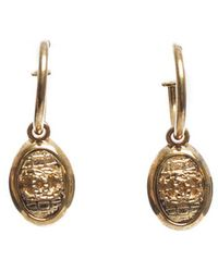 Chanel Pre-Owned Gold Cc Drop Earrings - Lyst