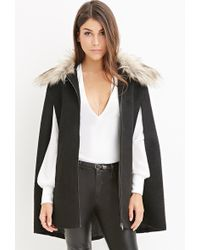 Forever 21 Contemporary Boucle Faux Fur Cape - Black