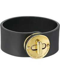 Marc By Marc Jacobs - Leather Bracelets Small Disc Turnlock Leather Bracelet - Lyst