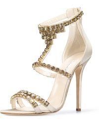 Oscar de la Renta Crystal Simonastrass Sandals - Lyst
