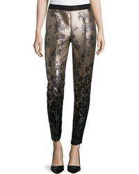 Carolina Herrera Floral-Print Shantung Pants - Lyst