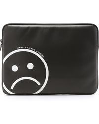 """Marc By Marc Jacobs Neoprene Unsmiley Face 13"""" Computer Case - Star White - Black"""