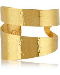 Herve Van Der Straeten Hammered Goldplated Cuff - Lyst
