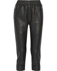 OAK | Runner Cropped Leather Track Trousers | Lyst