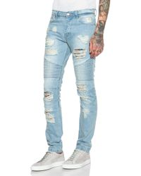 Stampd - Distressed Moto Jeans - Lyst