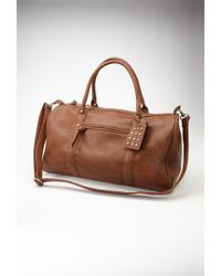 Forever 21 Studded Faux Leather Weekender - Brown