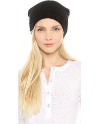 Diane Von Furstenberg Rabbit Fur Pom Hat  Blackblack - Lyst