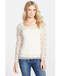 Kensie Crochet-Trim Slub-Knit Sweater - Lyst