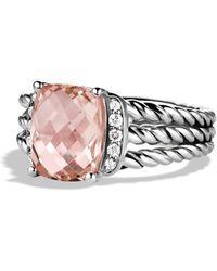 David Yurman Petite Wheaton Ring with Morganite and Diamonds - Metallic