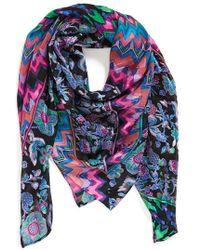 Nicole Miller - 'bohenza' Floral & Stripe Print Silk Scarf - Purple - Lyst