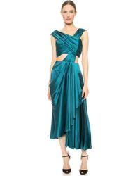 J. Mendel Asymmetrical Dress With Cutout Top - Empress Green - Lyst
