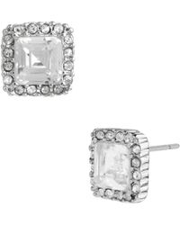 Betsey Johnson - Square Crystal Stud Earrings - Lyst