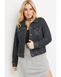 Forever 21 Plus Size Classic Denim Jacket in Black | Lyst