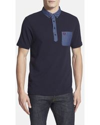 Fred Perry Extra Trim Fit Colorblock Cotton Pique Polo - Lyst